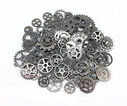 Yueton 100 Gram Approx 70pcs Antique Steampunk Gears Charms