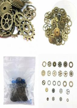 Yueton 100 Gram  Assorted Antique Steampunk Gears Charms...