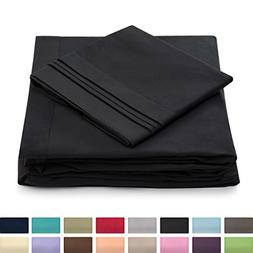 Cosy House Collection King Size Bed Sheets - Black Luxury Sh