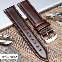 18mm 20mm 22mm Vintage Genuine Brown Leather Watch Strap Ban