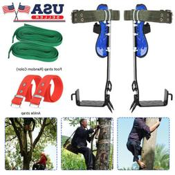 2-Gear Tree Climbing Spike Set Safety Belt Lanyard Rope Adju