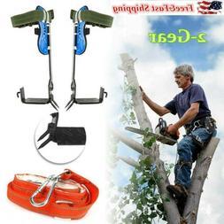 2-Gear Tree Climbing Spike Set Safety Belt Lanyard Rope Peda