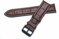 22mm Brown/White Leather Croco Watch Band For Samsung Gear S