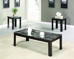 3-piece Occasional Table Set with Marble-Looking Top Black