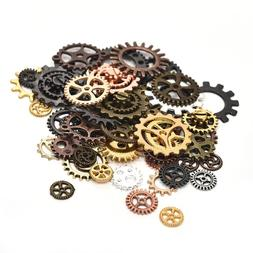 50g Mixed Vintage Metal Steampunk Gear Charms Pendents DIY J