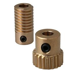 CNBTR 5mm Bore Hole Diameter Brass Worm Gear Shaft with 20 T
