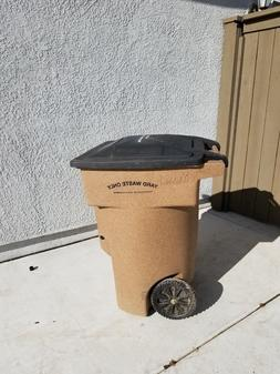 Toter 64 Gallon 2-Wheel Plastic Trash Can, Yard Waste, With