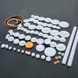 75 PCS  lot Plastic Gear Set DIY.Rack Pulley Belt Worm Singl