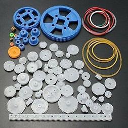 UCTOP 80Pcs Plastic DIY Robot Gear Kit Gearbox Motor Gear Se