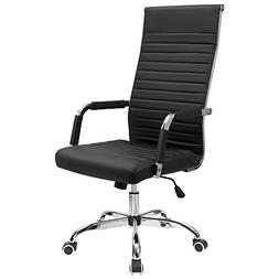 Furmax Ribbed Office Chair High Back PU Leather Executive Co