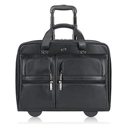 Solo Franklin Premium Leather 15.6 Inch Rolling Laptop Case,