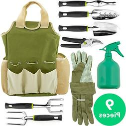 Vremi 9 Piece Garden Tools Set - Gardening Tools with Garden