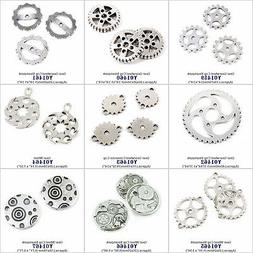 Antique Silver Tone Jewelry Making Charms Gear Gearwheel Cog