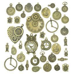 Antiqued Bronze Clock Face Charm Pendant, JIALEEY Wholesale