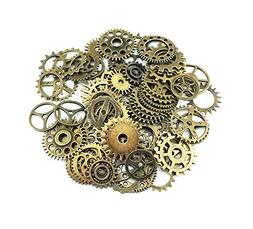 Yueton 100 Gram  Assorted Antique Steampunk Gears Charms Pen