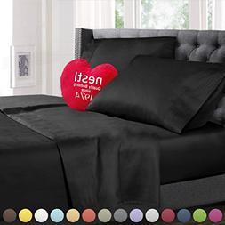 King Size Bed Sheets Set Black, Highest Quality Bedding Shee