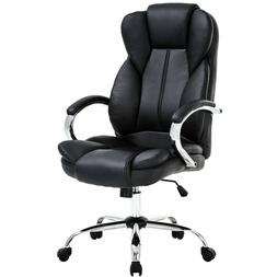 Black High Back PU Leather Executive Chair w/ Metal Base