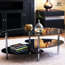 Black Glass Oval Side Coffee Table Shelf Chrome Base Living