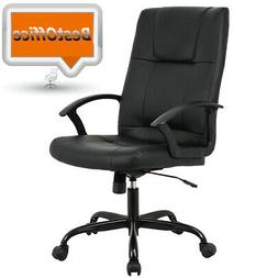 New Black PU Leather High Back Office Chair Executive Task E