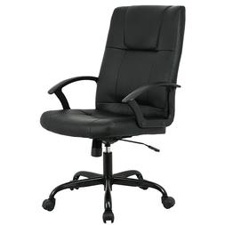 Black PU Leather Ergonomic Office Executive Computer Desk Ta