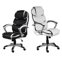 Black PU Leather High Back Office Chair Executive Task Ergon