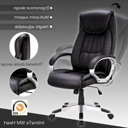 Black PU Leather High Back Office Chair Executive Task Compu