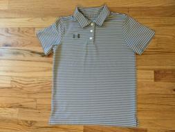 Boys Gray Under Armour Loose heat gear Polo Shirt size YLG