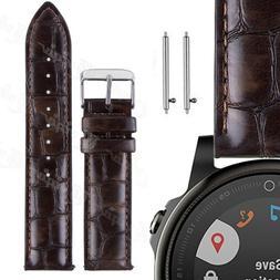 Brown Genuine Leather Smart Watch Strap Belt For Samsung Gal