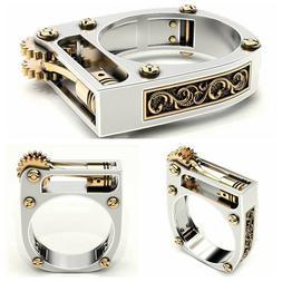 Creative Geometry Mechanical Gear Nail Ring Fashion Punk Uni