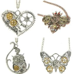 Creative Heart Shaped Mechanical Gear Insect Bee Owl Chain N