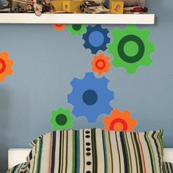 Fun Gears Wall Decals ~Peel & Stick Sticker for Boys Wall De