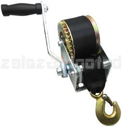 Hand Winch 600 lbs Hand Crank Strap Gear Winch ATV Boat Trai