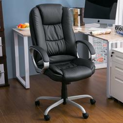 High Back Office Chair Black PU Leather Ergonomic Merax