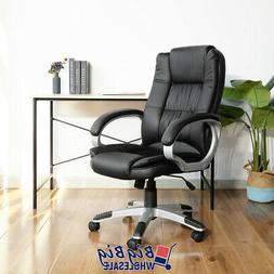 High Back Office Chair Black PU Soft Leather Executive Ergon