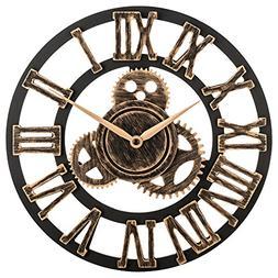 """OLDTOWN Clock 12"""" inch Noiseless Silent Gear Wall Clock - La"""