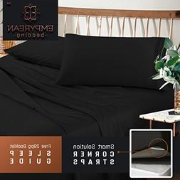 Premium King Sheets Set - Black Hotel Luxury 4-Piece Bed Set