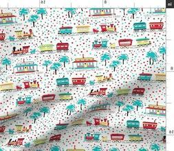 Kitsch Train Polka Dot Gender Neutral Spoonflower Fabric by
