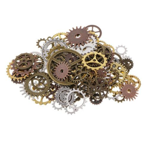 100g Assorted Color Alloy Gear Pendant Jewelry Making DIY
