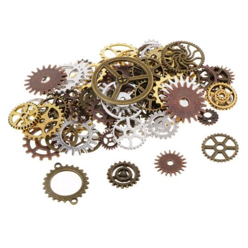100g assorted color alloy gear pendant charms