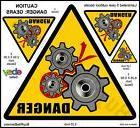 6 Inch Danger Gears, Pinch Safety Warning Decals Stickers. 4