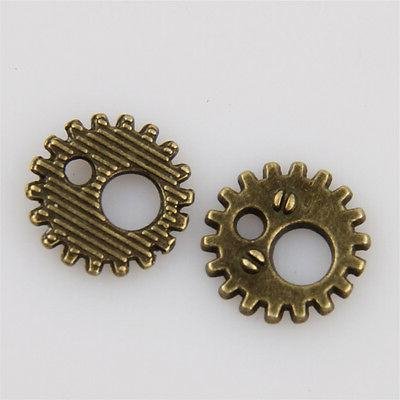 60pcs Antique Bronze Gear Charms Jewelry Making