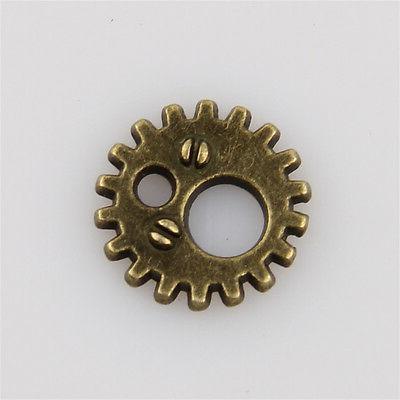 60pcs antique bronze gear charms pendants
