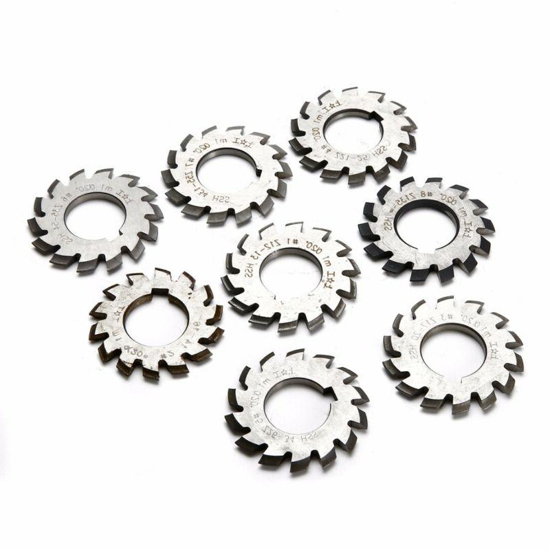 8pcs HSS M1 Diameter 22mm PA20° 20 Degree #1-8 Involute Gea