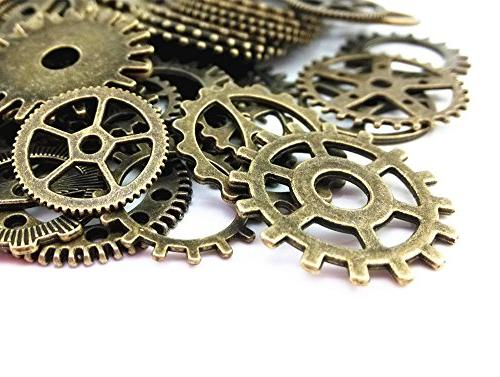 Yueton 100 Gram Antique Steampunk Gears Pendant Clock Watch Wheel Gear for Crafting, Making Accessory