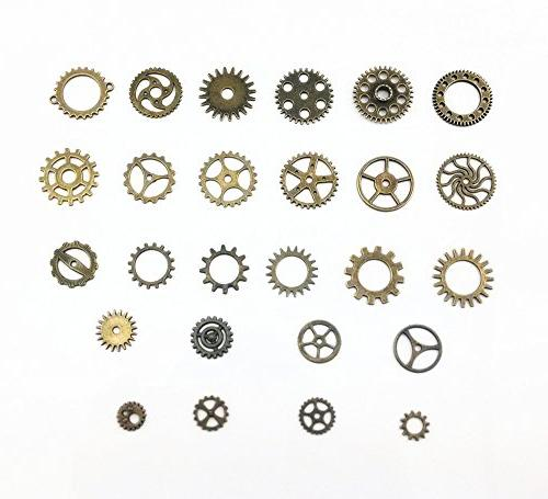 Yueton Antique Steampunk Gears Charms Pendant Gear for Crafting, Making