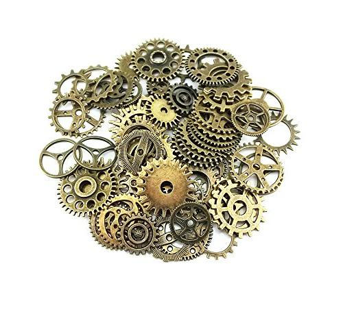 assorted antique steampunk gears charms