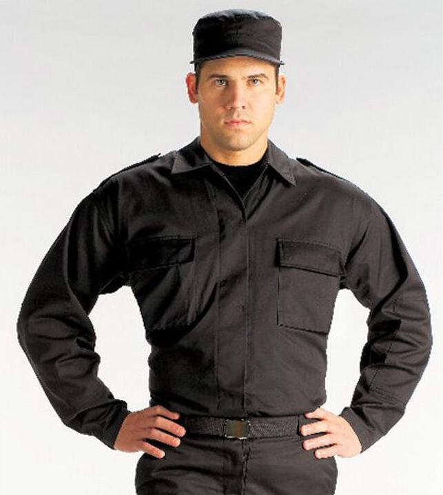 BDU Epaulet Uniform Fatigue Shirt Black Military Tactical Ge