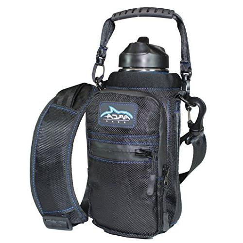 black insulated stainless bottle carrier