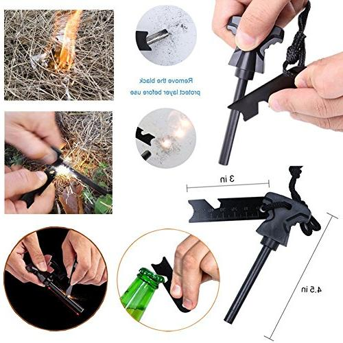 XUANLAN Emergency 13 in 1, Survival Tool with Survival Whistle, Cutter, Water Bottle for Camping, Hiking,
