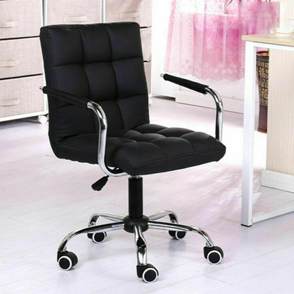 Ergonomic PU Leather Mid-Back Executive Computer Desk Task O